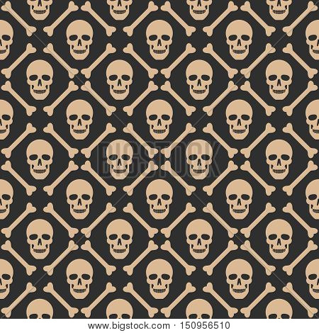 Skull seamless dark pattern. Vector swatches included.