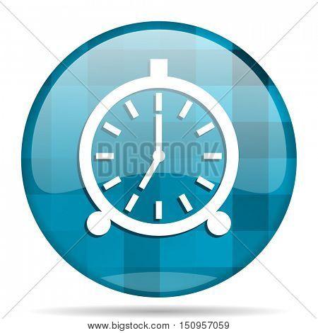 alarm blue round modern design internet icon on white background