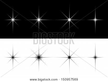 Set of sparkle lights stars. Flares or stars with rays, explosion, fireworks. Isolated vector illustration