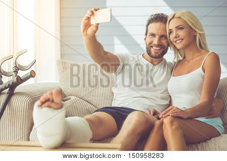 Man With Broken Leg And His Wife