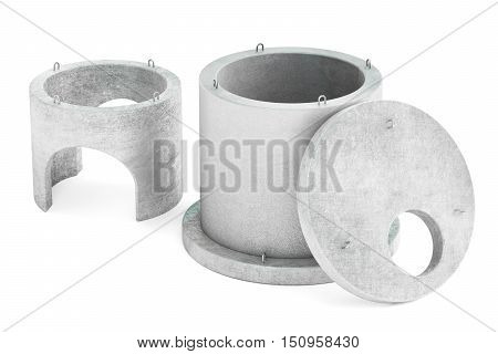 manhole rings 3D rendering isolated on white background