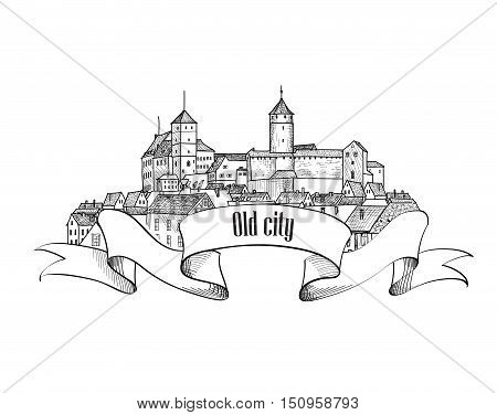 Old german city sign with bow ribbon. Downtown view. Medieval Nurnberg castle landscape. Pensil drawn engraving sketch
