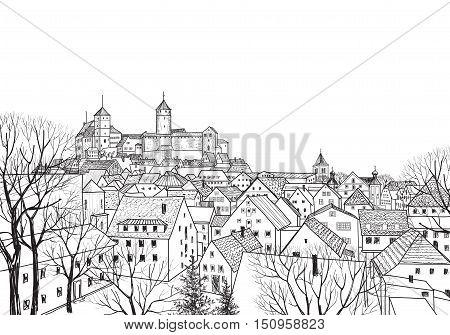 Old city skyline. Cityscape view. Medieval european castle landscape. Pensil drawn engraving sketch