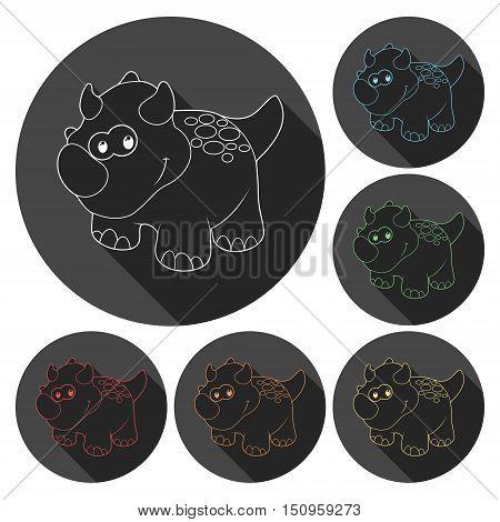 Cute Cartoon Dinosaur icons set with long shadow