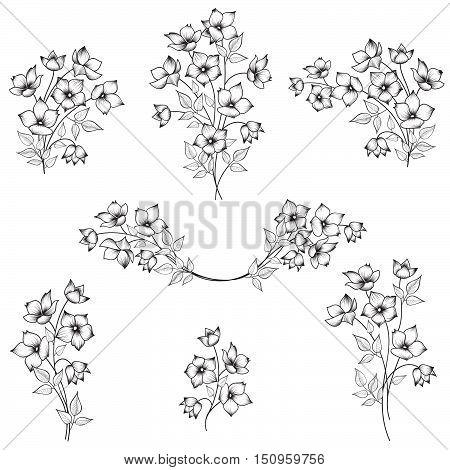 Flowers decor elements for framework. Flower bouquet decoration for frame. Floral border set. Floral posy collection.