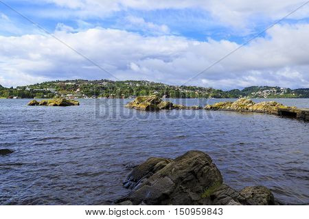 TROLDHAUGEN, NORWAY - JULY 3, 2016: This is a view of the lake Nordasvatnet and town Soreidgrenda from house of Edvard Grieg.