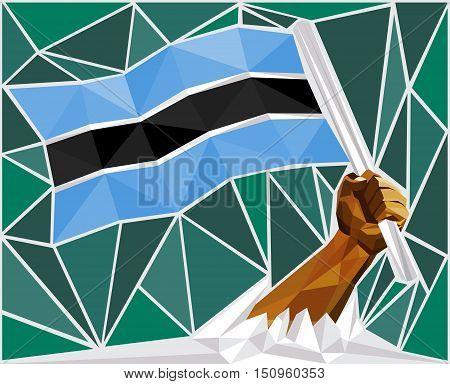 Strong Hand Raising The Flag Of Botswana