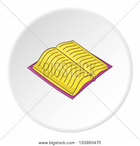 Open thick book with text icon. Cartoon illustration of open thick book with text vector icon for web
