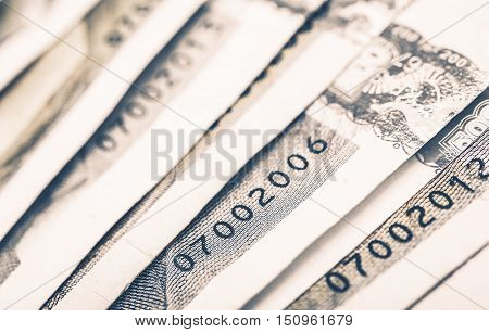 Banknotes Serial Numbers Closeup Photo. Banknotes Printing Security.