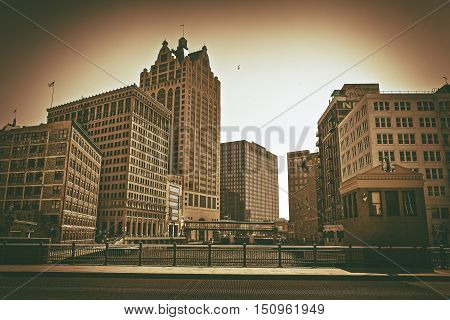 City of Milwaukee Wisconsin United States. Sepia Color Grading. Downtown Milwaukee.