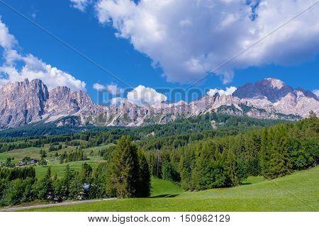Cortina d'Ampezzo Italian Dolomites in North Italy Province of Belluno Veneto. Dolomites Summer Landscape