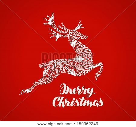 Merry Christmas greeting card. Prancing reindeer painted in decorative style. Vector illustration
