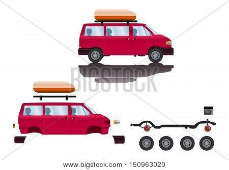 illustration of SUV car spare-part cartoon road vehicle type
