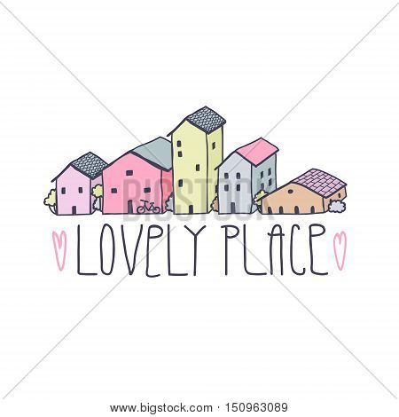 Cute naive house multicolored background with hearts and text. Pastel colors. Lovely place (handwritten).