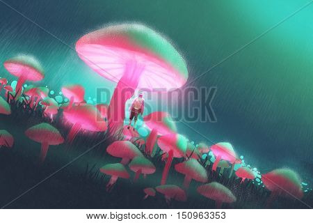 hiker man in the big mushrooms forest at rainy night, illustration painting