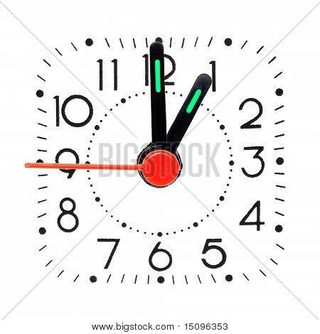 Clock showing 1 o'clock