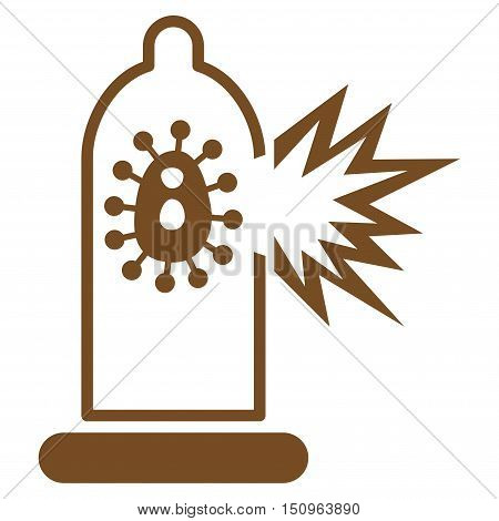 Damaged Condom With Virus vector icon. Style is flat symbol, brown color, rounded angles, white background.
