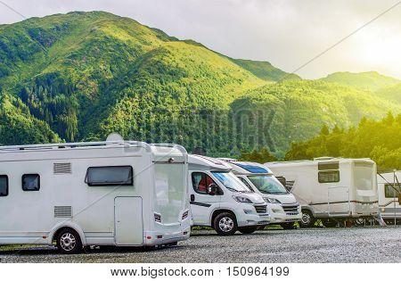 RV Park Camping. Modern Camper Motorhomes in the RV Park. poster