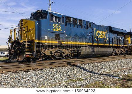 Indianapolis - Circa October 2016: CSX Locomotive Train. CSX operates a Class I railroad in the US III