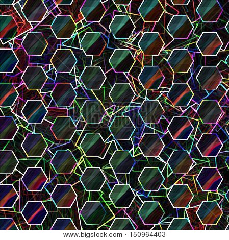 Abstract coloring background of the horizon gradient with visual lighting,cubism,mosaic and glowing edges effects.Good for your project design