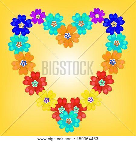 Background Spring Primroses Primula Flowers Blue Heart Glow. Vector Illustration