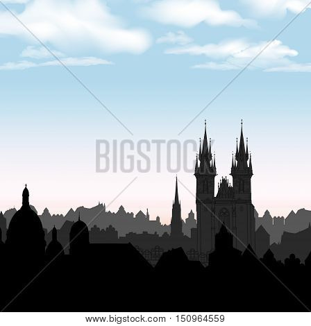 Old Town of Prague Czech Republic. Cityscape in the old european city with tower. Skyline vector background. Historic city street. Travel Prague bakcground.