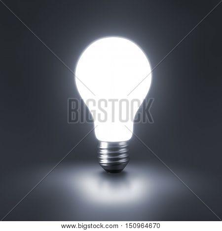 Lamp bulbs on black background. 3D illustration