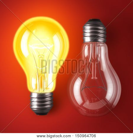 Lamp bulb On and Off on red background. 3D illustration