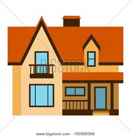 House front view vector illustration. Houses flat style modern constructions vector. House front facade building architecture home construction, urban house building s apartment front view