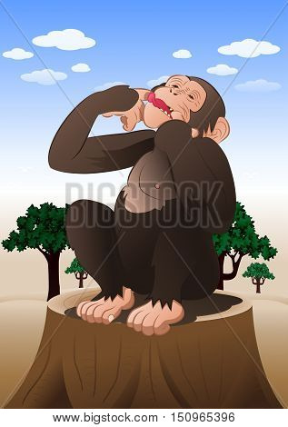 illustration of a funny chimpanzee monkey sitting in nature background