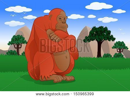 illustration of an adorable big monkey sitting in nature background