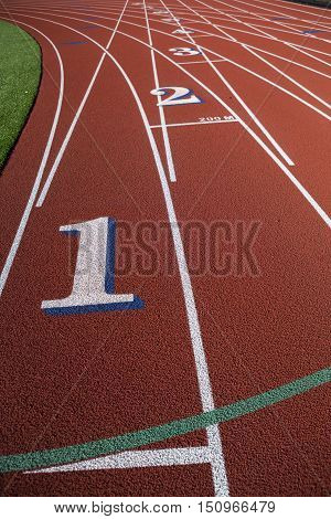 Empty Running Track with Lane Running Numbers