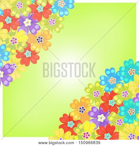 Card Of Spring Polyanthus Primula Flowers Green. Vector Illustration