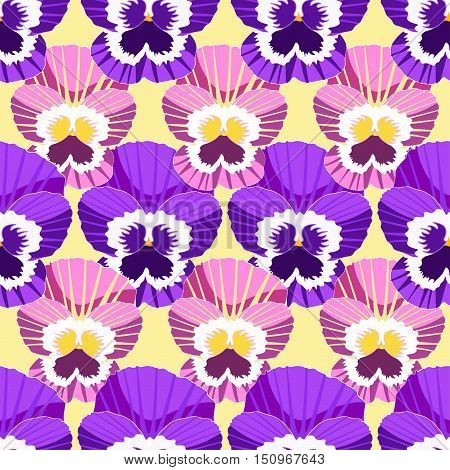 Chess Seamless Pattern Flowers Violet Pansies. Vector Illustration