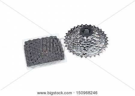 Bicycle cassette and chain set for mountain bike