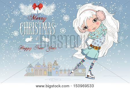 Vector Christmas greeting card with pretty little girl. Child with beautiful white hair is skating on winter town background. Best design for children presents.