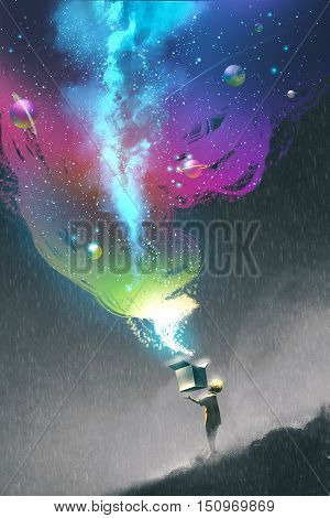 the kid opening a fantasy box with colorful light and fantastic space, illustration painting