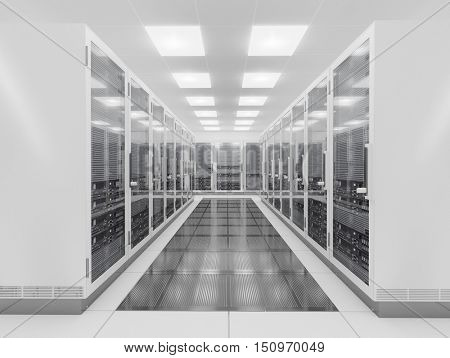 computer network server room 3d render representing internet and  hosting company  and data center concept