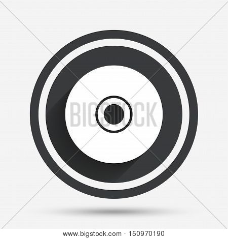 CD or DVD sign icon. Compact disc symbol. Circle flat button with shadow and border. Vector