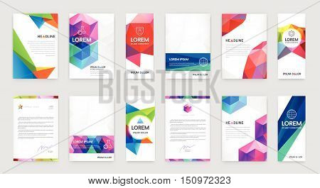 Set Of Visual Identity With Letter Logo Elements Polygonal Style Letterhead And Geometric Triangular
