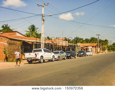 JERICOACOARA, BRAZIL - JANUARY 2016: Small town with traditional food and crafts of brazilian northeast zone located in the road towards Jericoacoara Brazil.