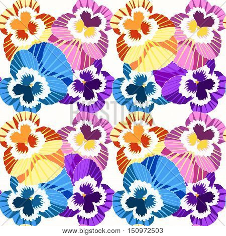 Seamless Pattern Flowers Net Violet Pansies On A Blue Background. Vector Illustration