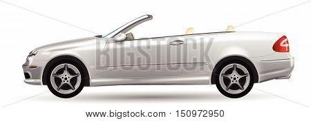 Classic Convertible On White Background, Vector Illustration, Original Design