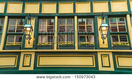 Yellow Woden building texture with small lamps