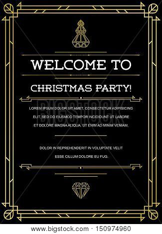 Gatsby Style Invitation in Art Deco or Nouveau Epoch 1920's Gangster Era Vector poster