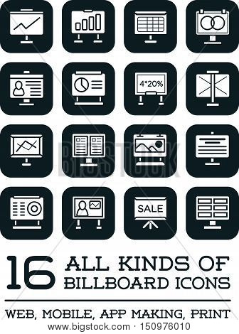 All Kinds Of Billboard Icons, Set Of Vector Icons For All Purposes, Business, Web, Mobile Or Print