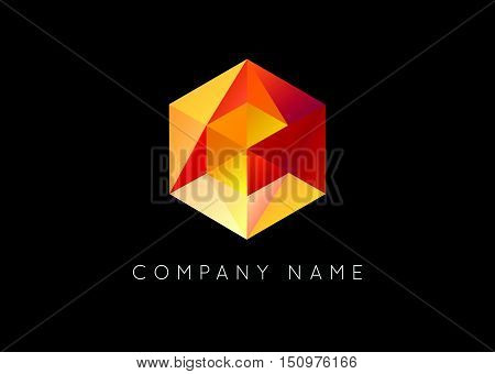 Trendy Crystal Triangulated Gem Logo Element Perfect For Business Geometric Low Polygon Style Visual