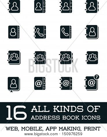 All Kinds Of Contact Us Address Book Icons In Vector Isolated For Using In All Purposes Web, Mobile,