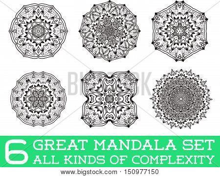 Set Of Ethnic Fractal Mandala Vector Meditation Tattoo Looks Like Snowflake Or Maya Aztec Pattern Or