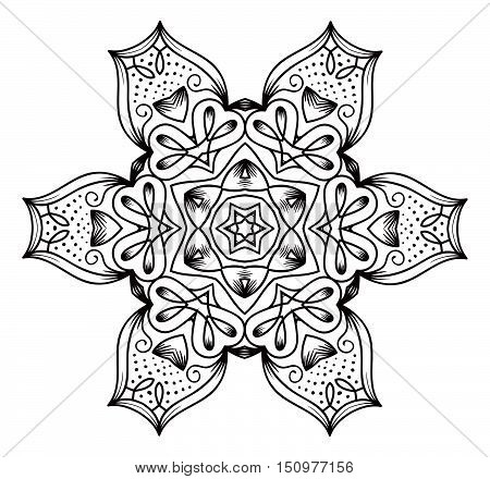 Ethnic Fractal Mandala Vector Meditation Looks Like Snowflake Or Maya Aztec Pattern Or Flower Isolat